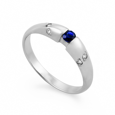 золотые кольца с бриллиантом и сапфиром